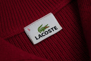 LACOSTE men's Red Wool Blend Zip Neck Jumper, XL - secondfirst