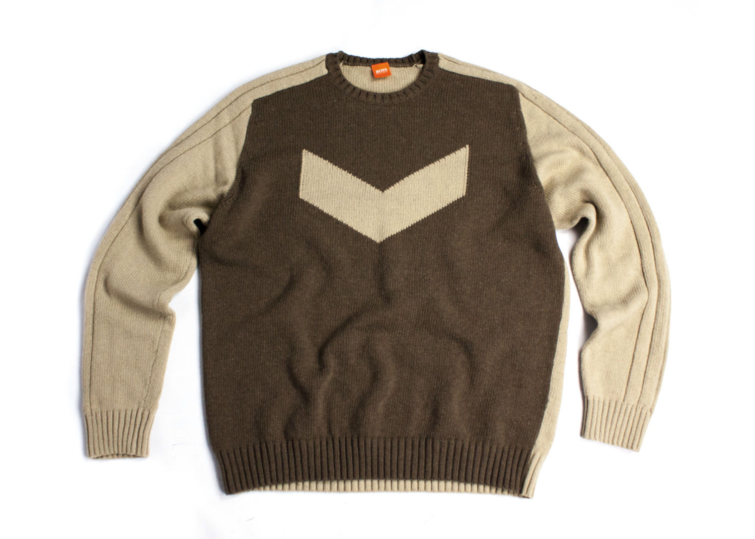 HUGO BOSS Orange Label Wool Brown Jumper Sweater, L - secondfirst
