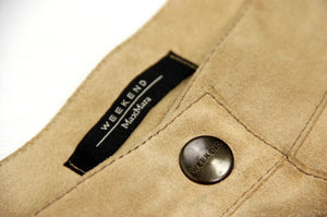 MAX MARA Beige Suede Leather A-line Button Skirt, US 6/UK8 - secondfirst
