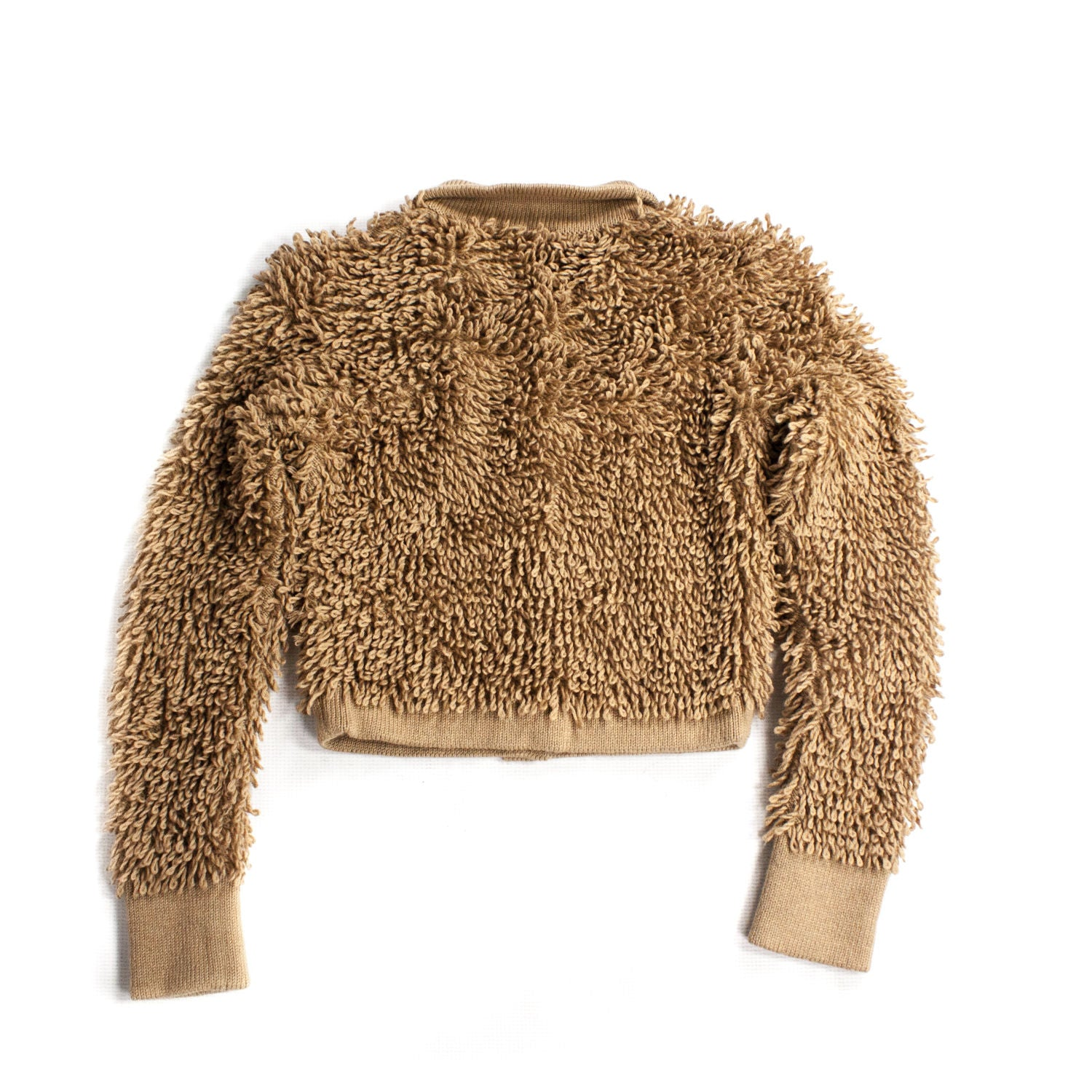 VALENTINO 100% Wool Teddy Bear Style Cropped Fluffy Cardigan, SIZE S - secondfirst