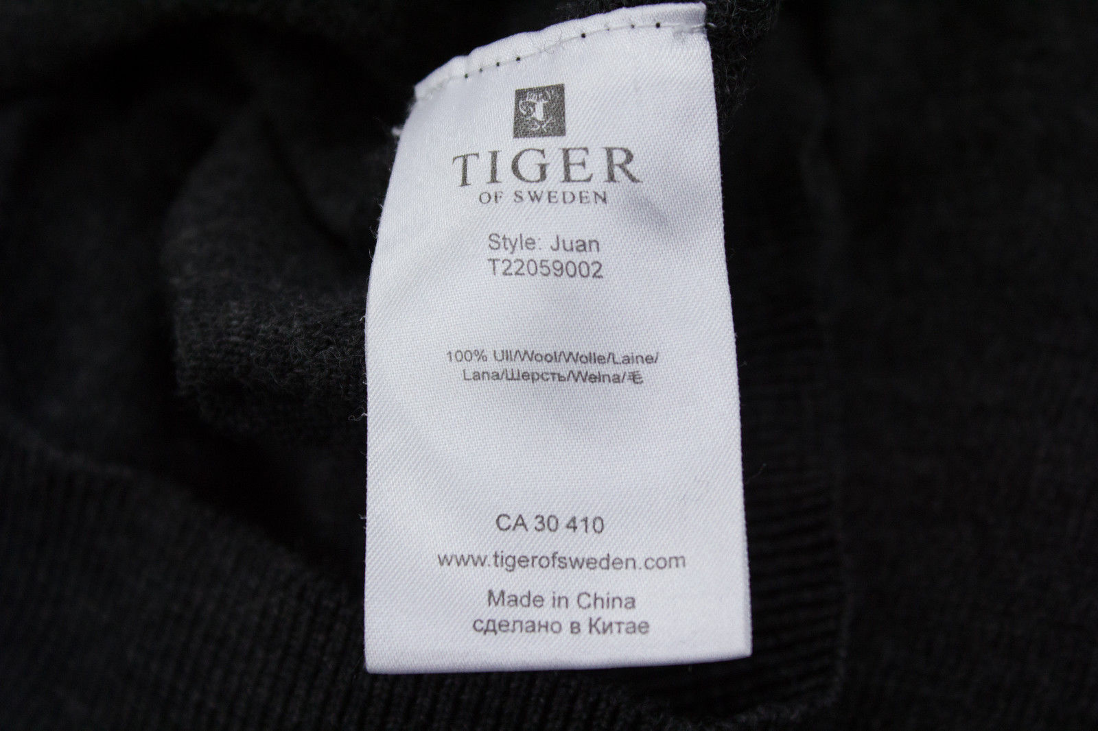"TIGER OF SWEDEN  ""Juan"" 100% Wool Gray V-Neck Sweater/Jumper SIZE S - secondfirst"