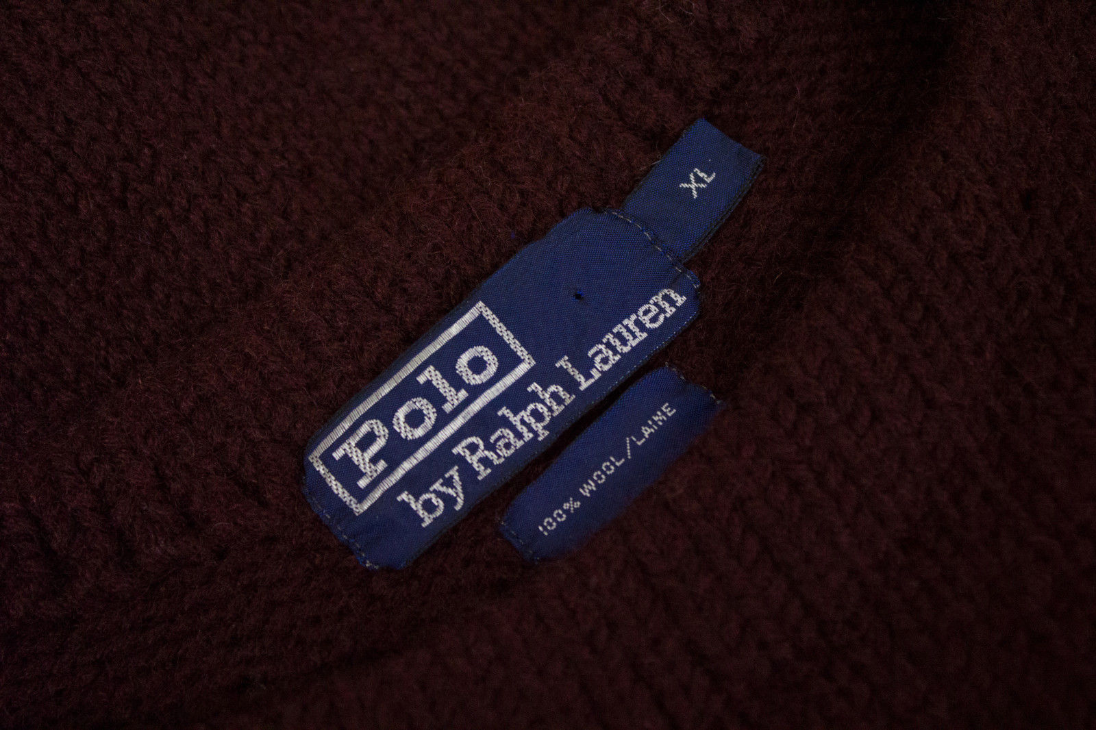 POLO by RALPH LAUREN Deep Burgundy Wool Sweater, SIZE XL - secondfirst