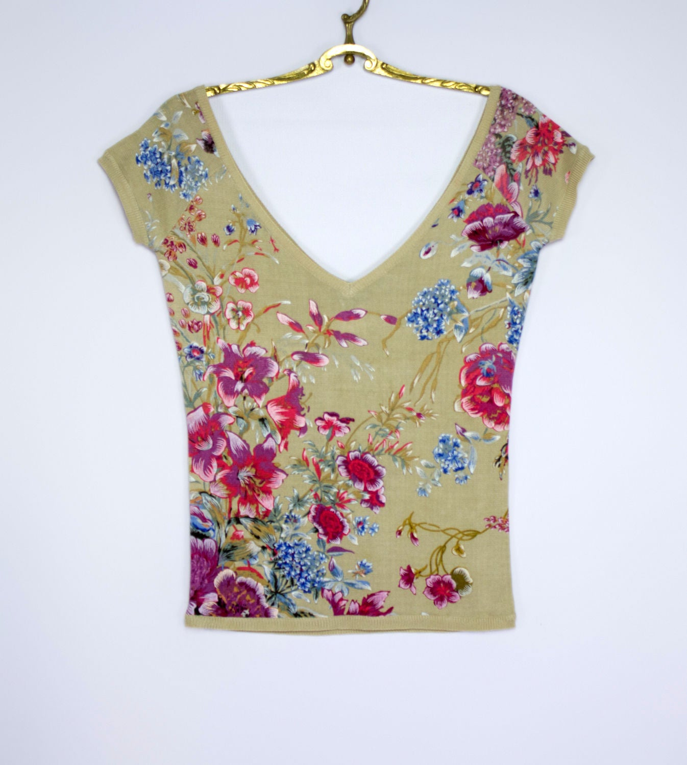 RENATO NUCCI women's Knitted 100% Silk Floral V-Neck Blouse/Top SIZE S - secondfirst