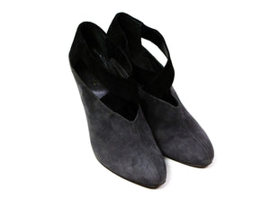 Prada Gray Black Suede Leather Strap Pumps USA 8/UK 5/EU 38 - secondfirst