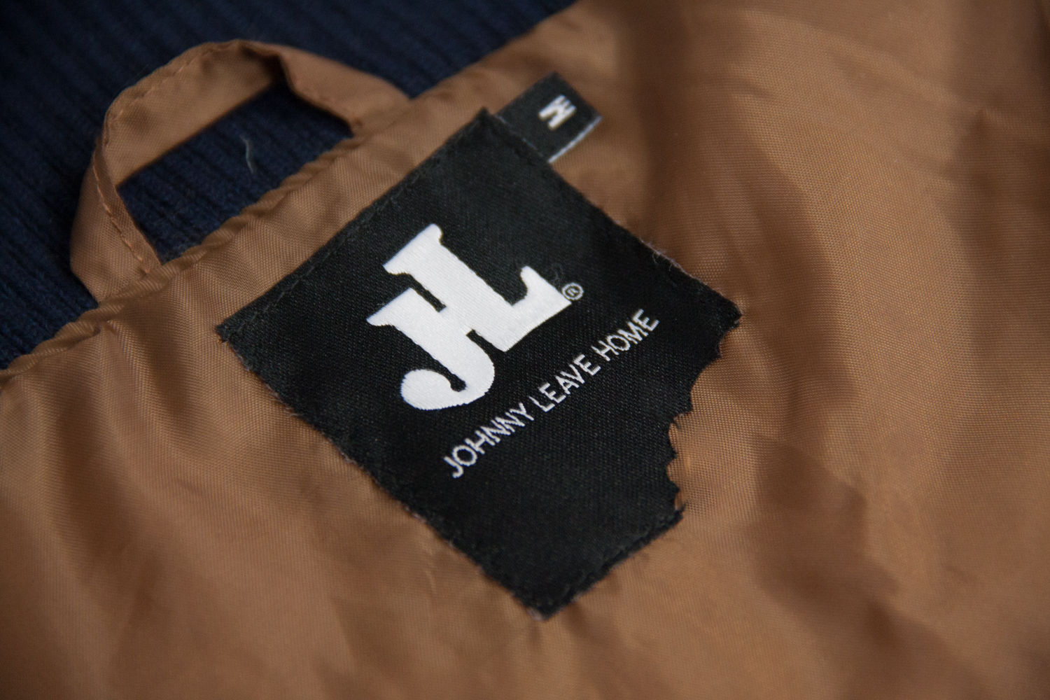 JOHNNY LEAVE HOME men's wool blend blue/brown Varsity Jacket, M - secondfirst