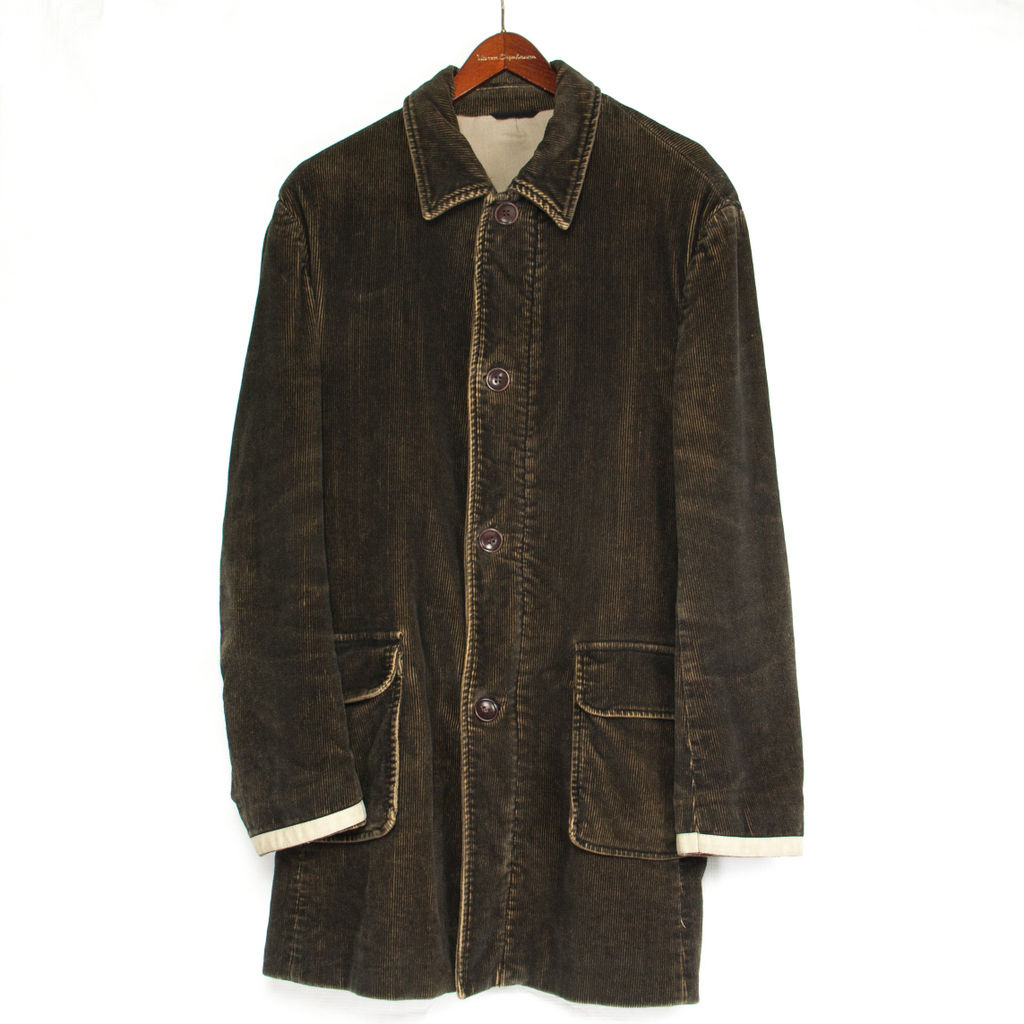 DANIELE ALESSANDRINI men's Green Corduroy Coat, L, US40, EU50 - secondfirst