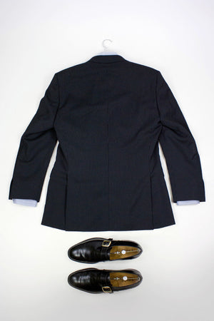 HUGO BOSS STRIPED BLACK WOOL BLAZER, US 38R/EU48 - secondfirst