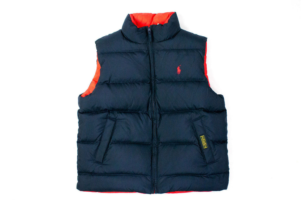 POLO RALPH LAUREN Women's Reversible RED/NAVY Down Vest, S - secondfirst