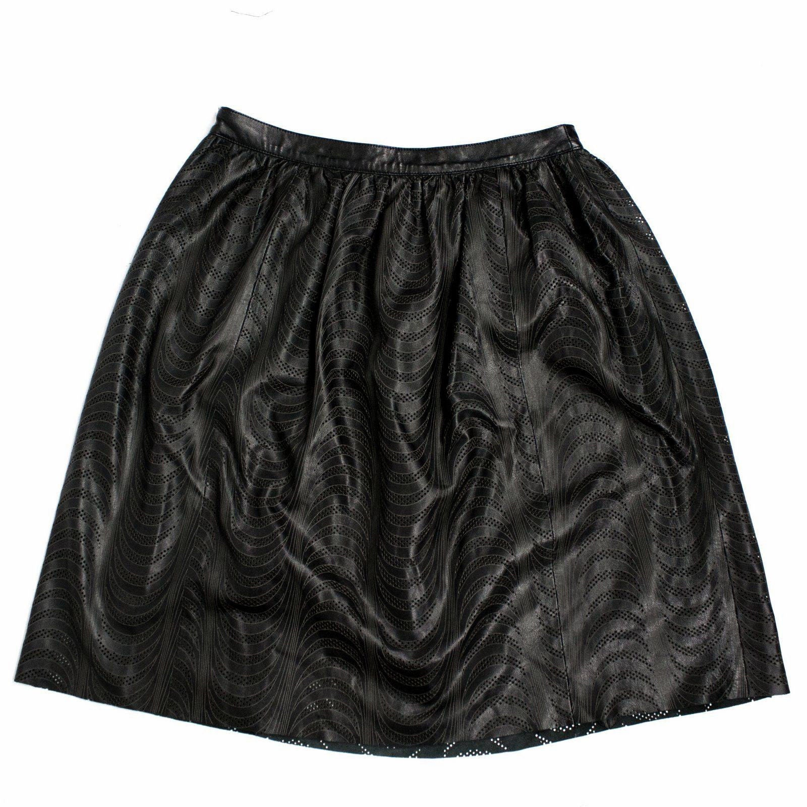 DROMe Black Soft&Light Sheep Skin Perforated Leather A-line Ruffled Skirt SIZE L - secondfirst