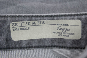 DIESEL Women's Light Gray Boyfriend Jeans, W27/ L32 - secondfirst