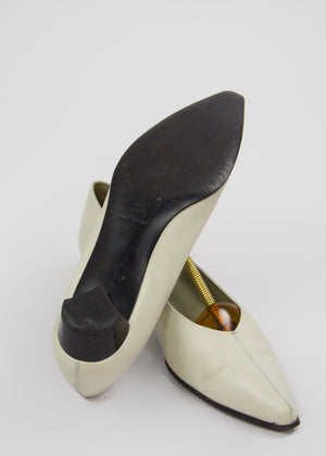 JIL SANDER Off White V-cut Low Pumps Shoes SIZE 36.5 EUR, 6.5 US, 3.5 UK - secondfirst
