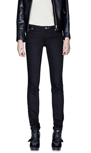 Acne Kex Wet Black Skinny Fit Black Stretch Jeans, Size 27/34
