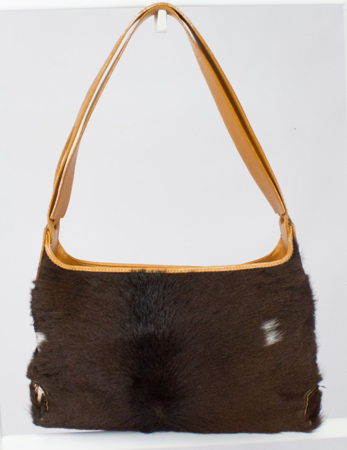 TOD'S Brown Fur & Leather Shoulder Bag - secondfirst
