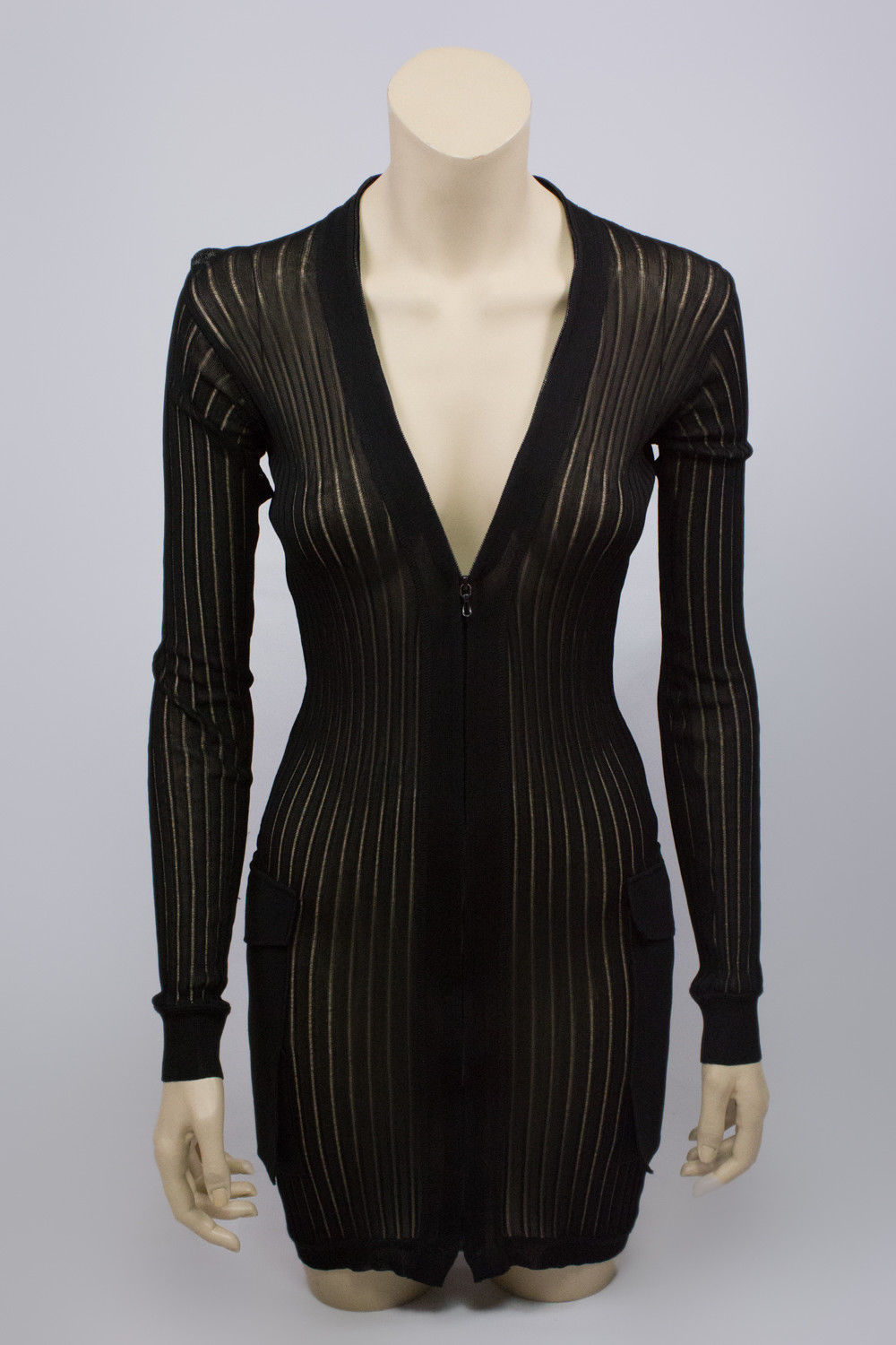 Roland Mouret Sheer Transparent Zip Front Cardigan Dress XS (US 2, UK 6) - secondfirst