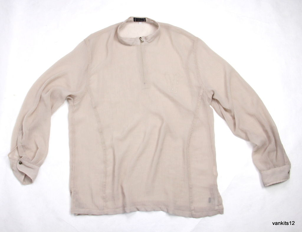VERSACE Jeans Couture long sleeve sheer beige blouse, M/L - second_first