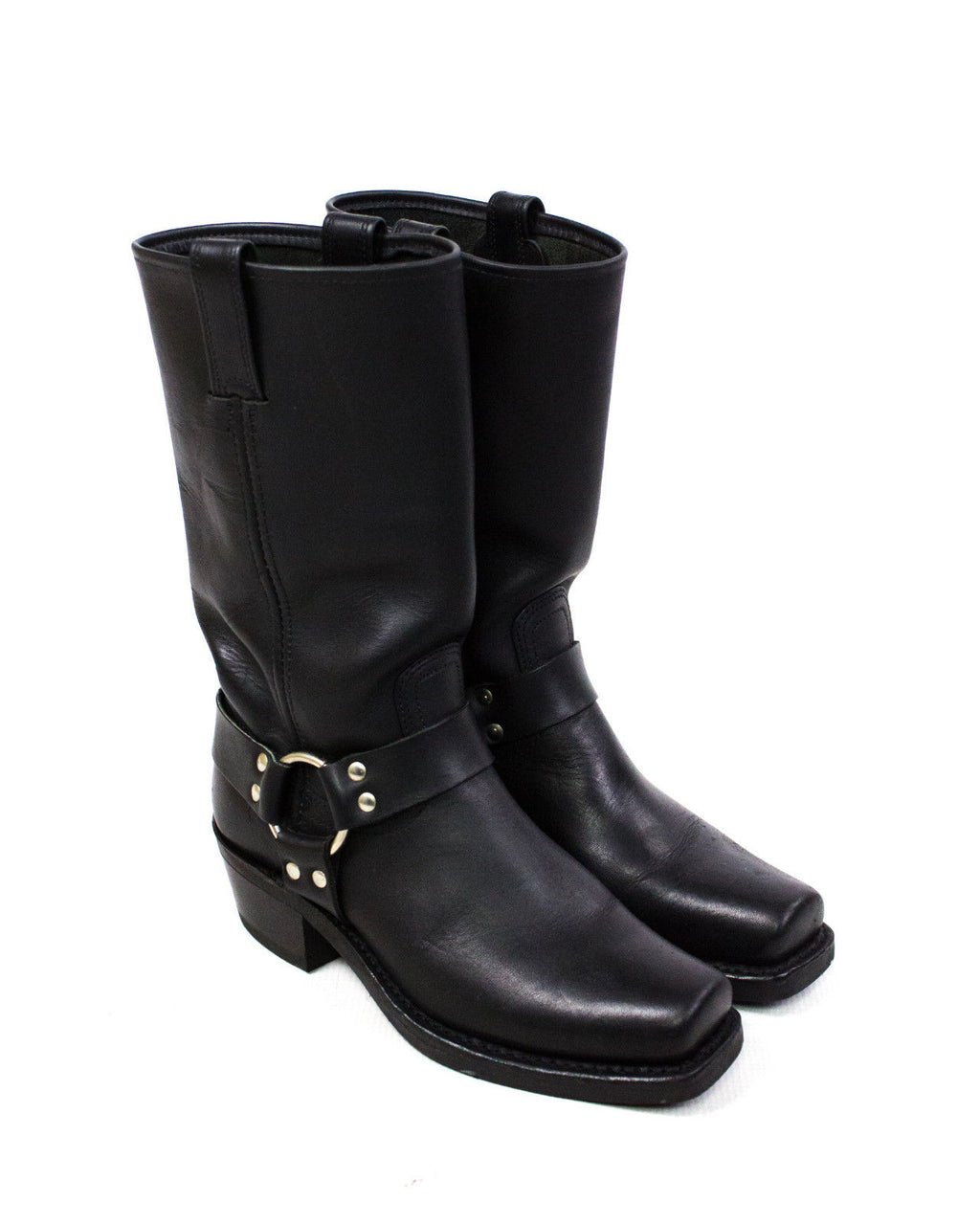 FRYE Harness 12R Black Heritage Leather Boots, US 8M - secondfirst