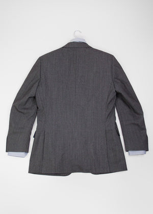 SUITSUPPLY Grey Striped Pure Wool Super 140's Blazer Jacket, SIZE USA 40 - secondfirst