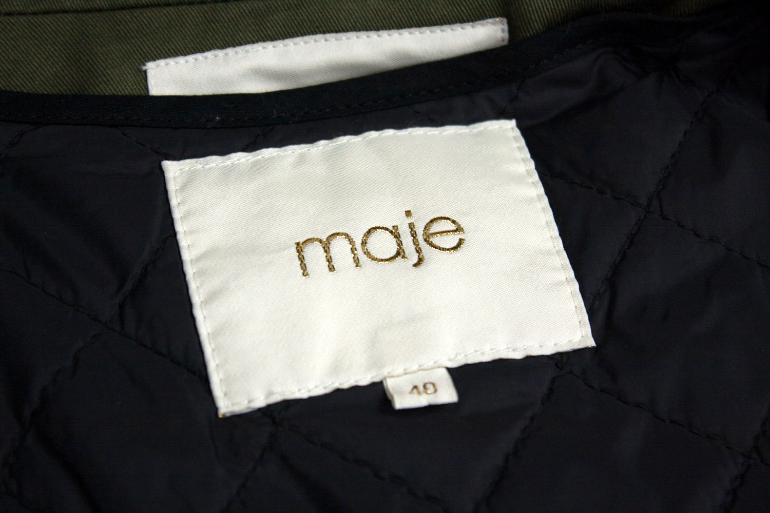 MAJE Military Style Khaki Green Jacket, Size S - secondfirst
