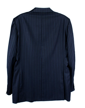 DUNHILL Super 120's Canvassed Wool Navy Striped Blazer US44, EU54 - secondfirst