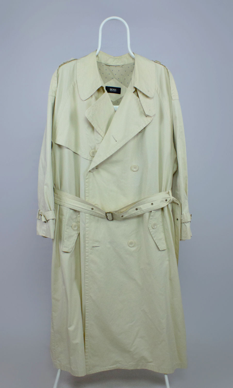 HUGO BOSS Men's Cream Trench Coat, US 40/EU 50 - secondfirst