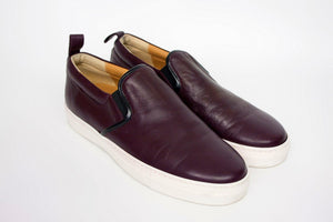 FABIO RUSCONI Burgundy Leather Slip On Shoes, US9, EU39, UK6 - secondfirst