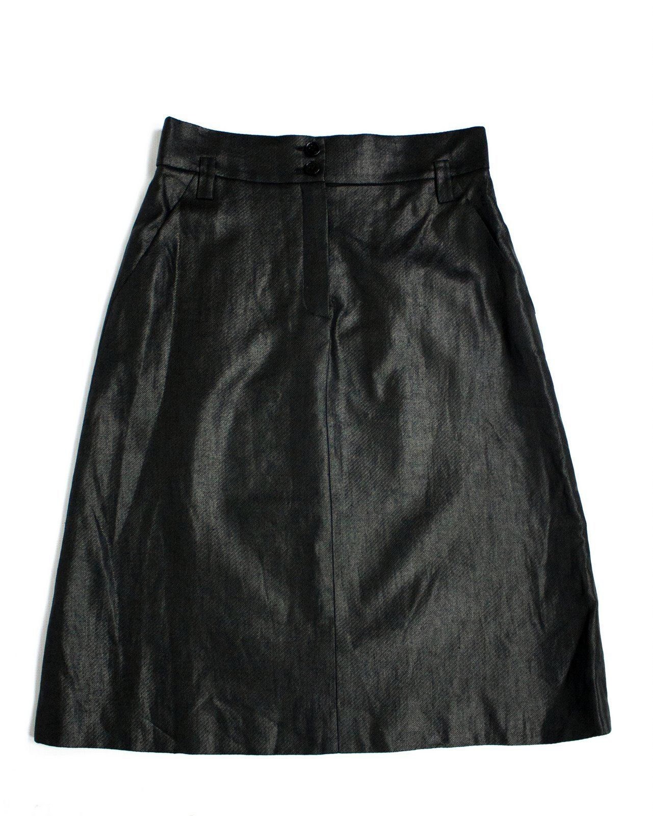 SONIA RYKIEL 100% linen A-line Black Skirt SIZE L, US 10 - secondfirst