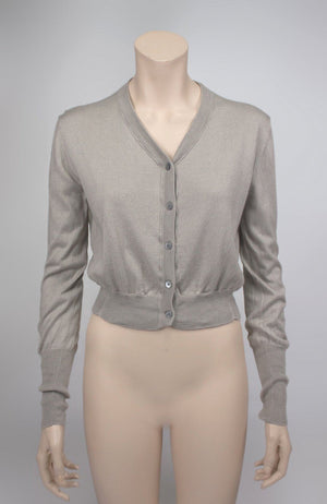 Acne Beige Bathy Silk-Cashmere Cardigan Chiffon Back, M - secondfirst