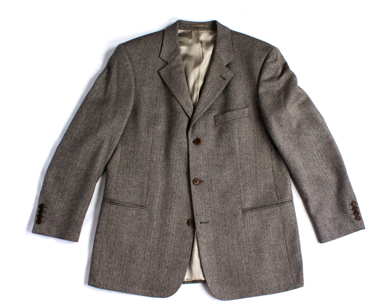 HUGO BOSS Herringbone Cashmere Wool Blazer, US 44R/EU 54 - secondfirst
