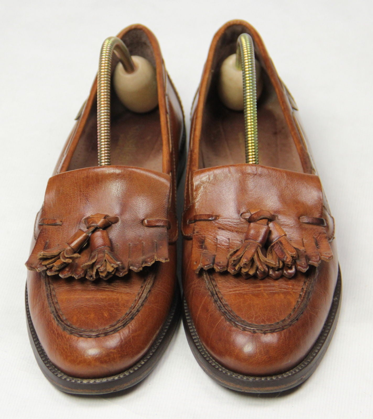 RUSSELL & BROMLEY Brown Leather Tassel Loafers, EU 40, US 9 - second_first