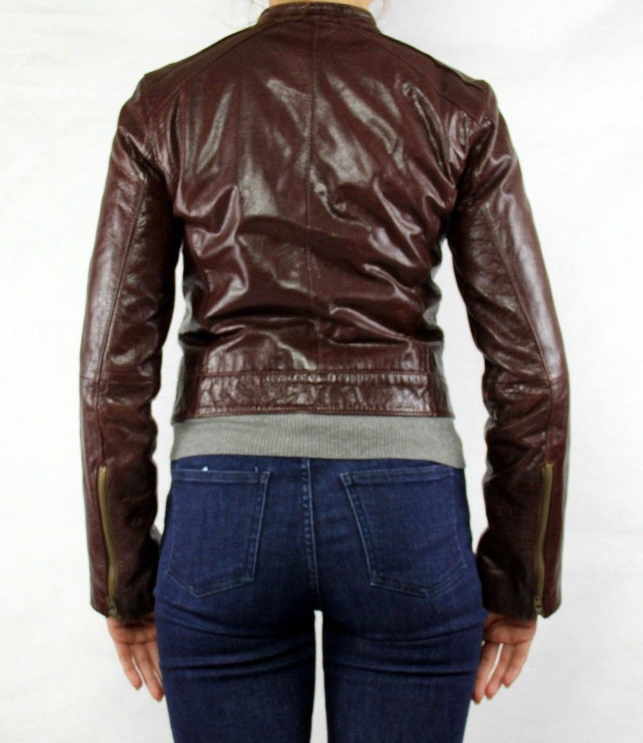 BEBE Cafe Racer Style Leather Jacket, XS - secondfirst