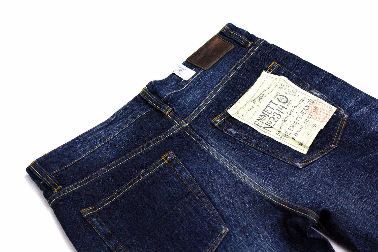 EMMETT Selvage Slim Straight Indigo Blue Jeans, 32/32 - secondfirst