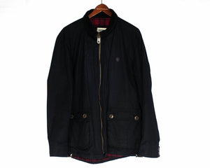 PLECTRUM by BEN SHERMAN Men's Black Waxed Cotton Jacket Parka, L - secondfirst