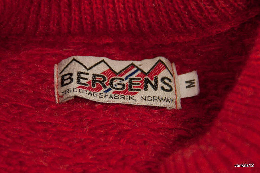 BERGENS Nordic Red Wool Men's Sweater Jumper, Size M - secondfirst