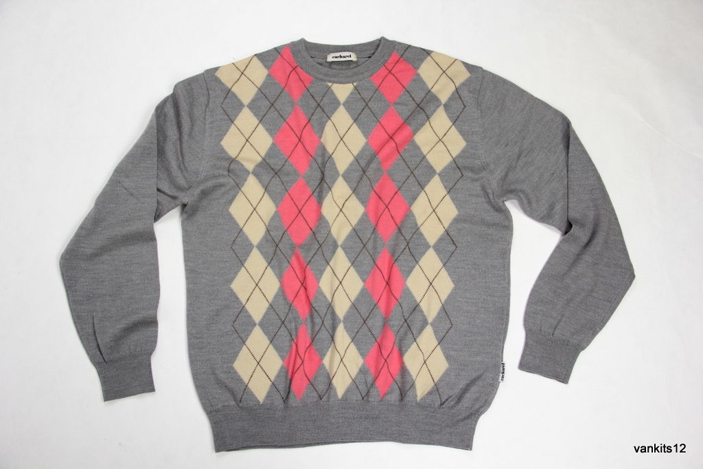 CACHAREL Men's Merino Wool Crew Neck Argyle Jumper Sweater, M - secondfirst
