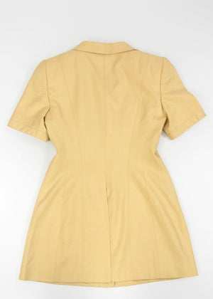 RENA LANGE women beige gold tone textured silk dress, S/EUR 38 - secondfirst