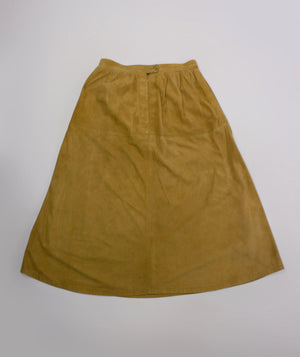 BURBERRY Vintage Soft Suede Brown Midi Skirt, UK 10 LONG, US 6, EU 36 - secondfirst