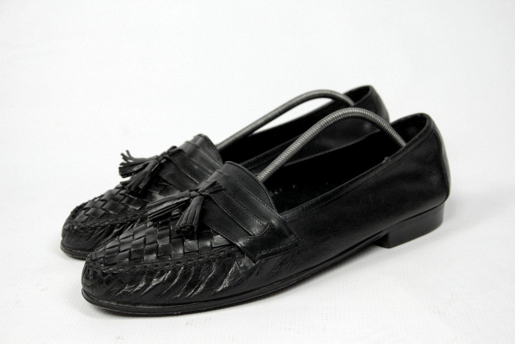 COLE HAAN Woven Leather Tassel Loafers SIZE US 11M, UK 10, EU 44 - secondfirst