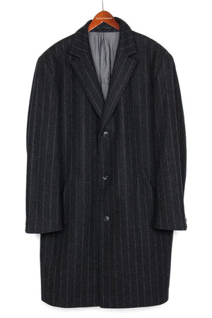 HUGO BOSS Wool Gray Striped Top Coat SIZE US 44 - secondfirst