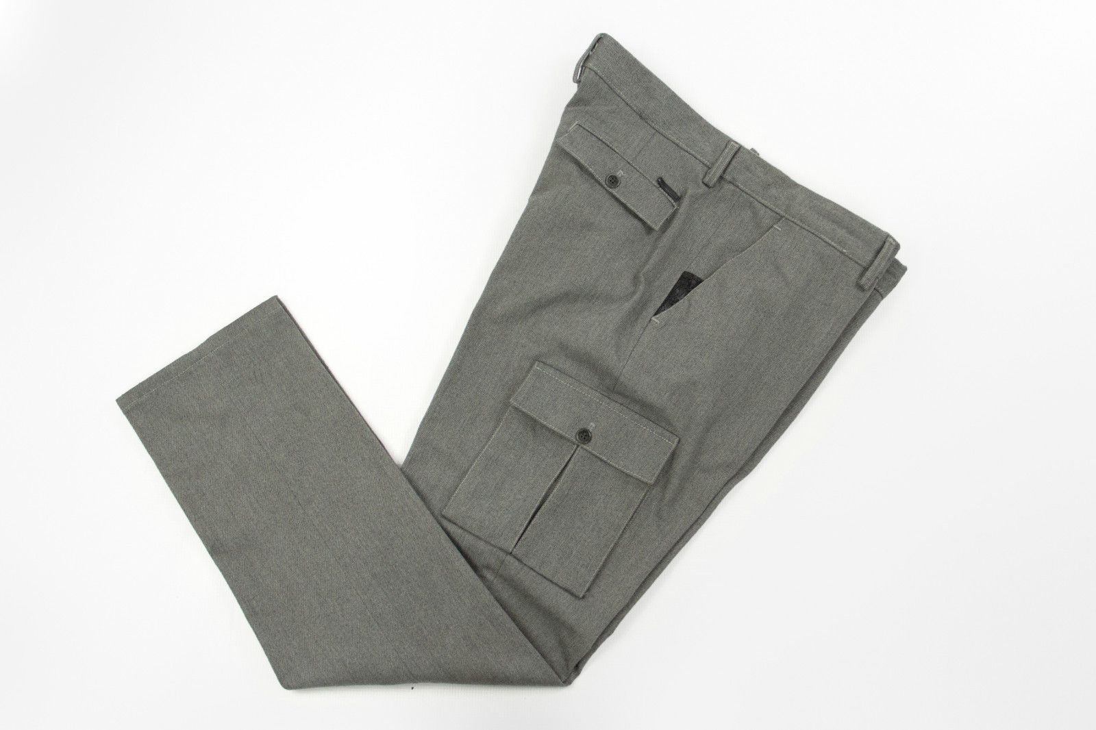HAMAKI-HO  Men's Stretch Gray Twill Flat Front Cargo Pants, EU 54, USA 44 - secondfirst