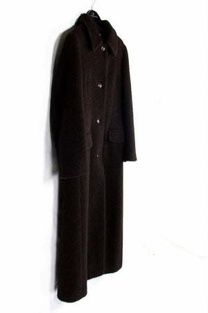 M.K. EMKAY women's Alpaca Wool Brown Long Coat, Size L, US 12 - second_first
