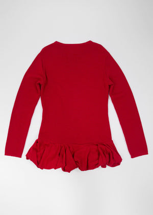 IVAN GRUNDAHL Merino Wool Red Ruffle Sweater, SIZE L - secondfirst