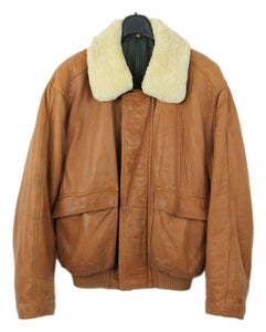 Hugo Boss Butter Soft Leather Bomber Jacket with Shearling Collar, L - secondfirst