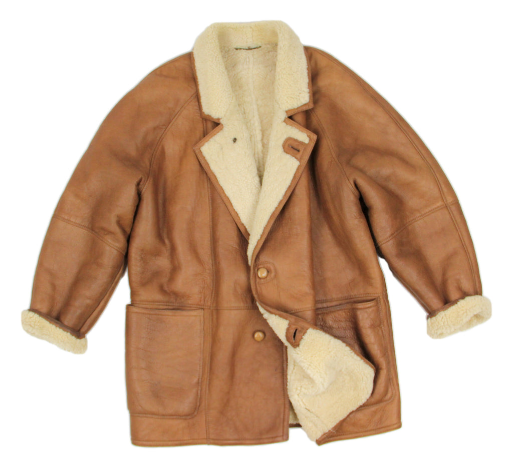 Brown Leather Notch Collar Lambsfur Shearling Coat, SIZE XL