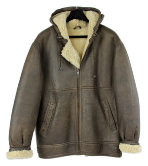 Brown Lambsfur Aviator Style Hooded Shearling Jacket, SIZE M - second_first
