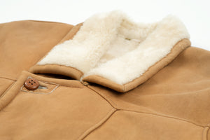 Lightweight Camel Brown Super Supple Lambskin Shearling Coat, Men's XL