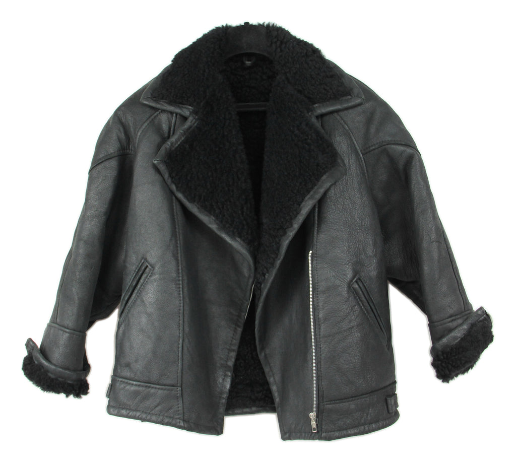 Black Leather Motorcycle Style Shearling Jacket, L