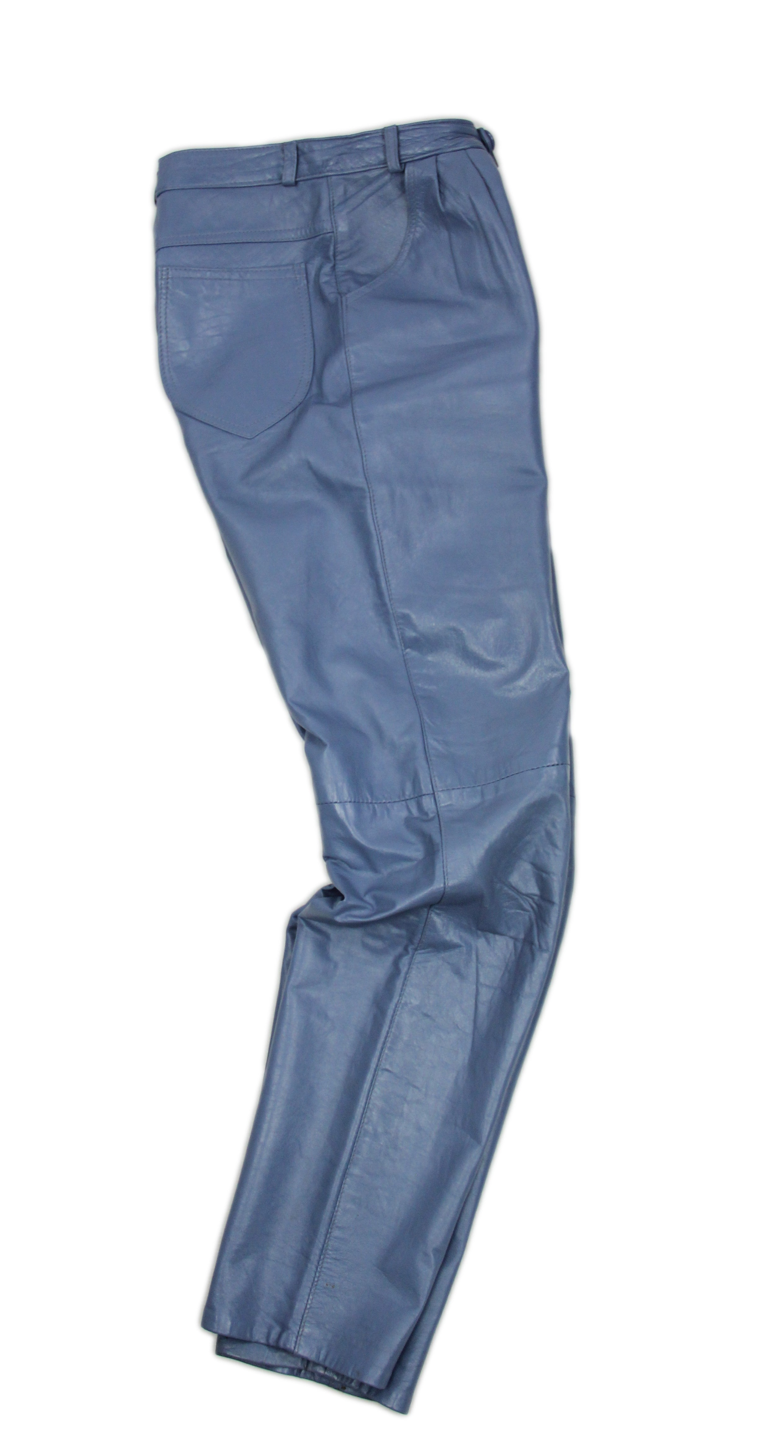High Waist Light Blue Soft Leather Pants SIZE XS, US 4, EU 34 - secondfirst