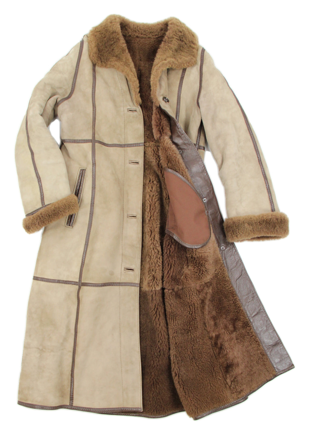 Amoress A-line Long Shearling Coat, Size M