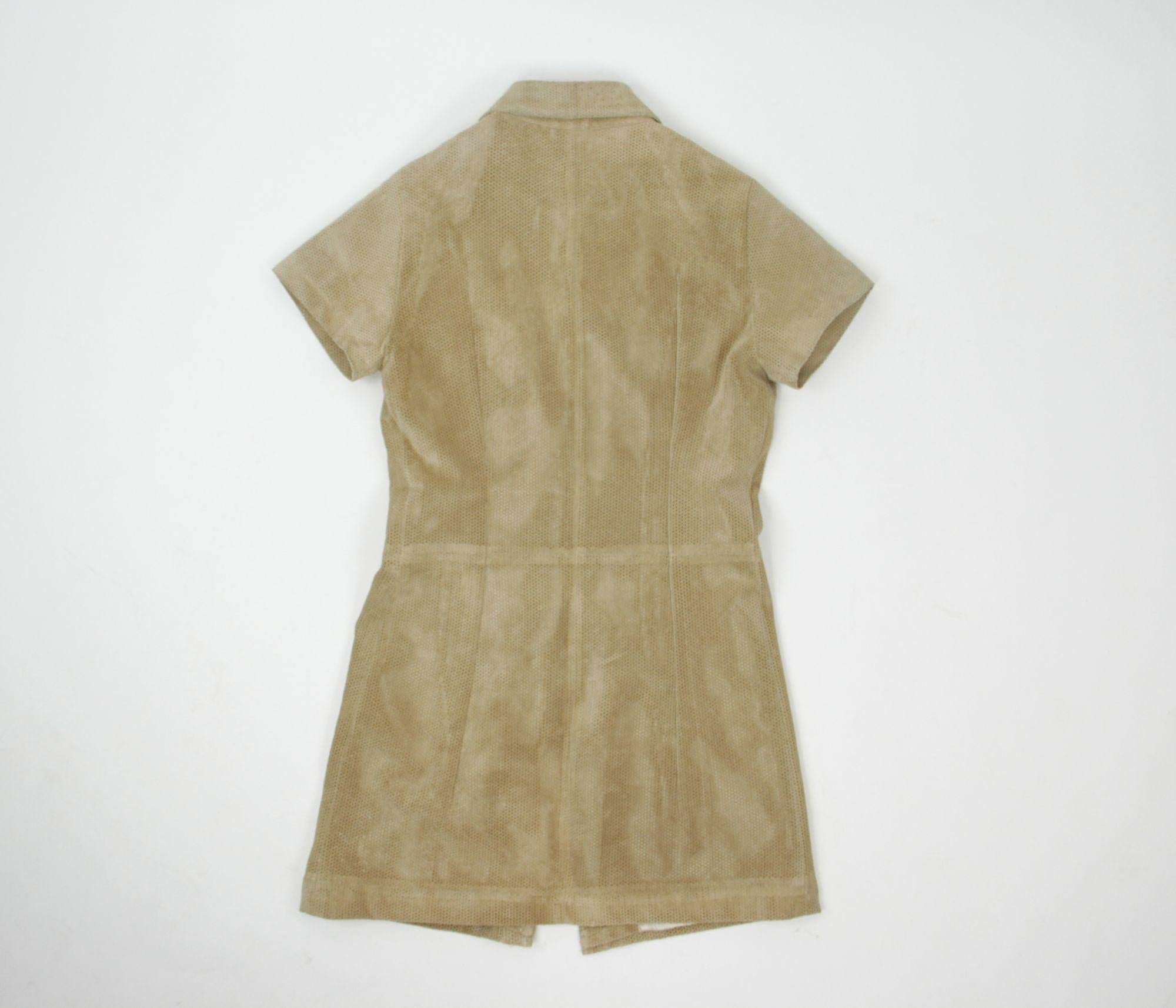 Perforated Suede Leather Mini Shirt Dress, Size S