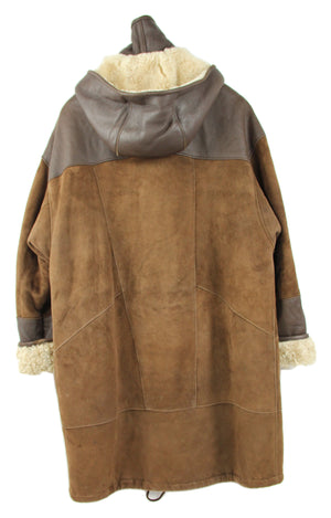 Soft Icelandic Mountain Lambskin Shearling Hooded Coat, SIZE L - second_first